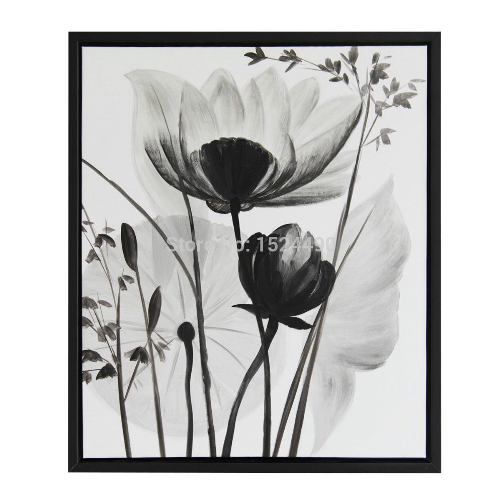 Black And White Flower Wall Decal Mural With Brown Sofa Sets For Your