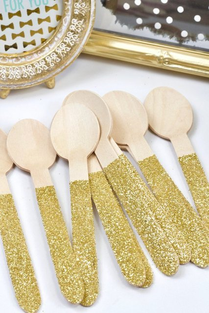 Wood Glitter Knife Sliver Spoon Fork Gold Utensils Disposable Party Supply Biodegradable