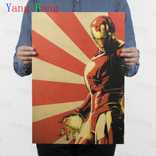 Póster de Papel Kraft de Iron Man de Marvel Comics retro película vintage pintura adhesiva de pared antigua decoración del hogar para bar Café pub 51*35cm