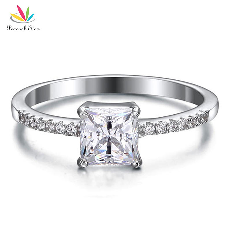 Peacock Star Solid 925 Sterling Wedding Party Engagement Ring 1 Carat Princess Cut Jewelry CFR8024