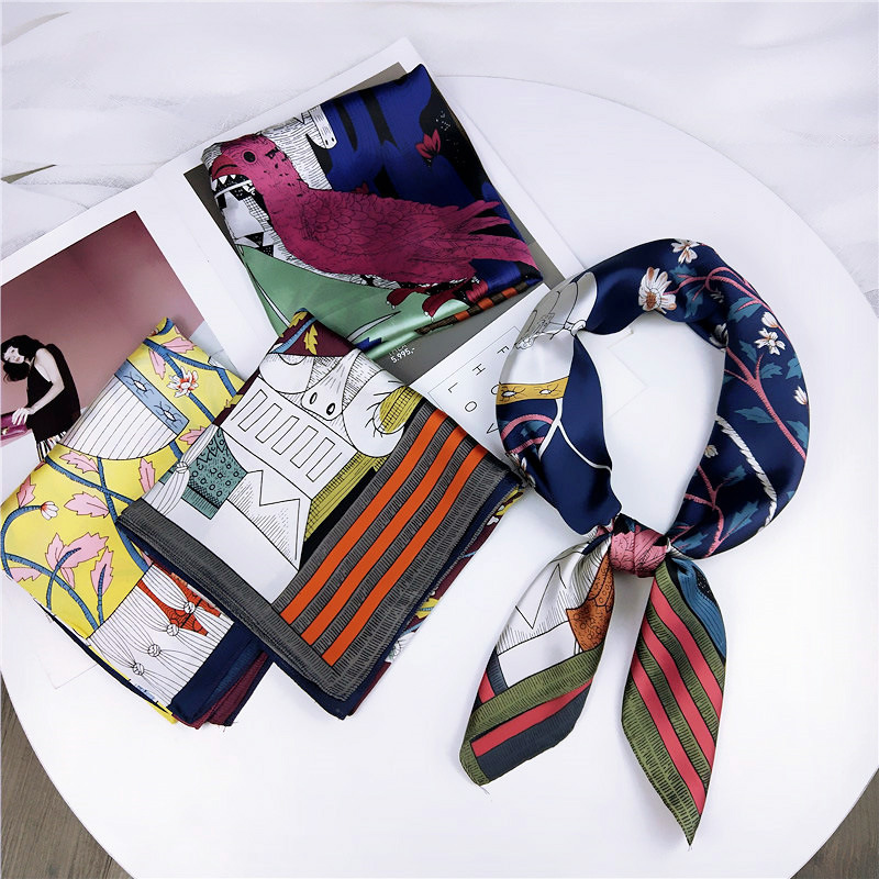LEAYH New Style Person and Nature Print 70cm Faux Silk Square Scarf Hair Tie Scarves Band Women Business Party Accessories
