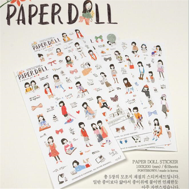 6 sheets/lot DIY Cute Kawaii PVC Scrapbook Stickers Lovely Sweet Girl Sticky Paper For Home Decoration Diary Free Shipping 3447 14pcs creative kawaii lovely cute self made victoria rabbit animal stickers trolley case computer notebook stickers luggage