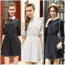 2015 Günlük Moda Uygar Ofis Bayanlar Şifon çift katmanlı Uzun Kollu İnce Yaka Dot Elbise