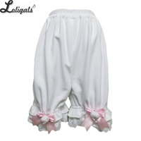 Cute Warm Fleece Lolita Bloomers Ruffled Short Under Pants with Pockets