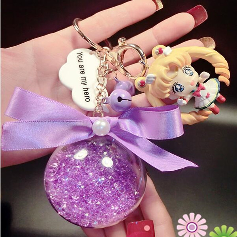 CXZYKING Cute Cartoon Sailor Moon Figure Model Twinkle Sailor Moon PVC Figures Collectible Dolls Toys Keychain Pendants amw 810 wireless bluetooth 4 1 earphone sports sweatproof headphone stereo bass hi fi headset for iphone xiaomi samsung huawei