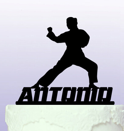 Acrylic Personalised Name Martial Arts Cake Topper Birthday Toppers Wedding Bridal Baby Shower Bachelor Party Decorations