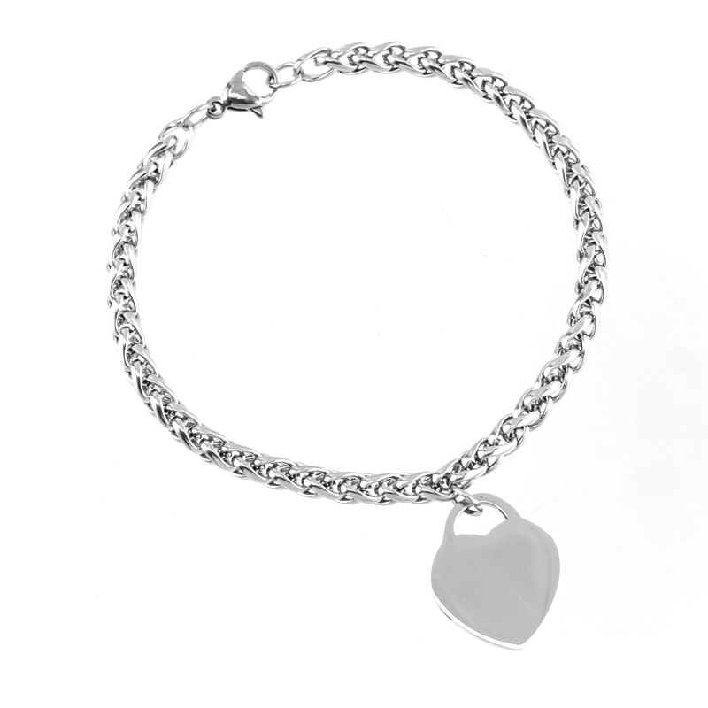 women bracelets Stainless Steel Material 4mm braid Chain heart charm Bracelets bangle female Jewelry gift Good quality
