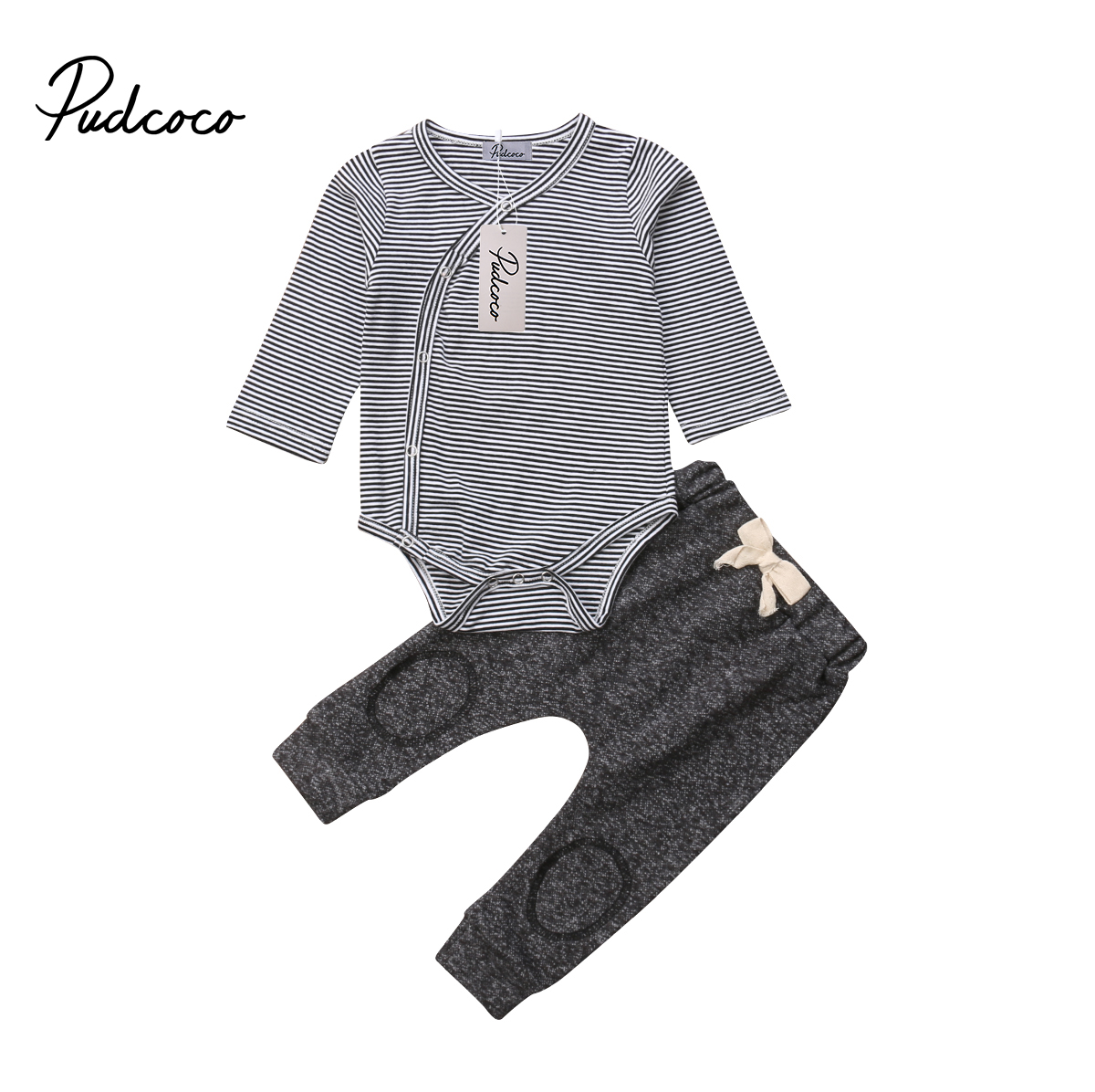 Soft Warm Terry Newborn Baby Boy Winter Autumn Clothing Set Stripe Romper Tops  Long Pants Outfits Clothes 0-24M