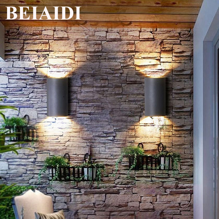 BEIAIDI 6W Up Down Led Wall Lamp Outdoor Garden Balcony Porch Wall Light Waterproof Villa Courtyard Patio Wall Sconces AC85-265V outdoor lighting waterproof glass wall lamp vintage indoor villa porch garden courtyard decora light ip65 led outdoor wall light