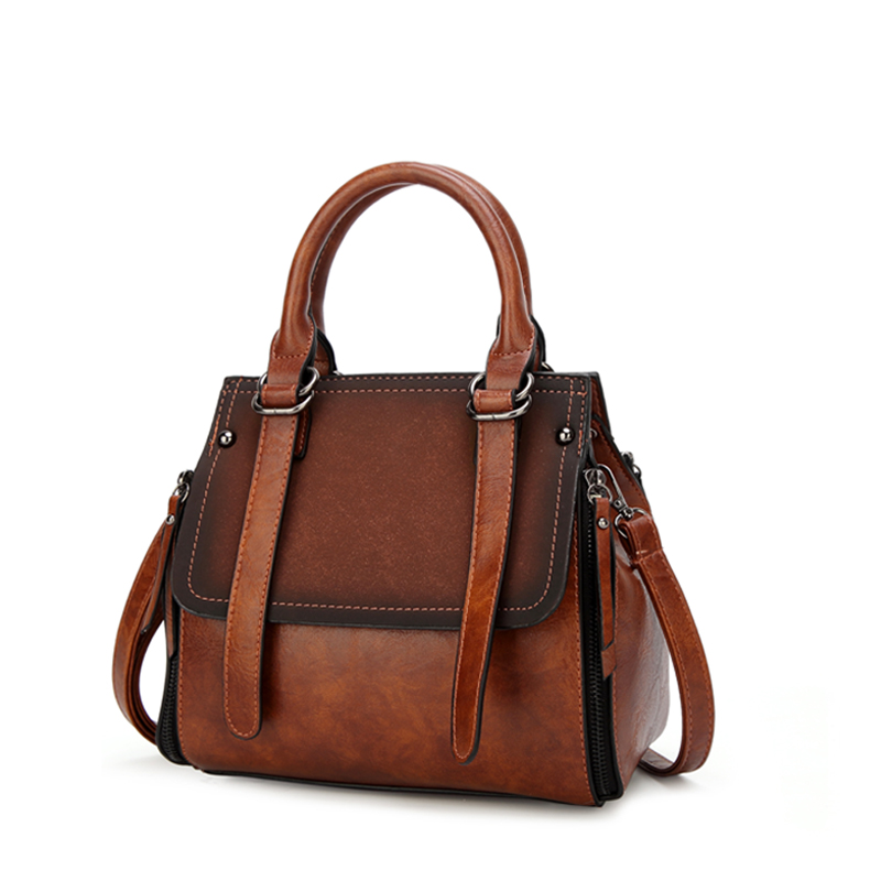 Tinkin PU leather women handbag vintage tote bag  panelled stone women shoulder bag messenger bag Karachi