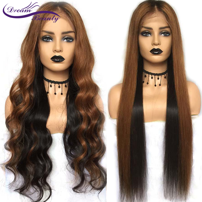Ombre Wavy Lace Front Wigs With Baby Hair Remy Human Hair Wigs Pre-plucked Hairline Ombre Color Glueless Lace Wigs Dream Beauty