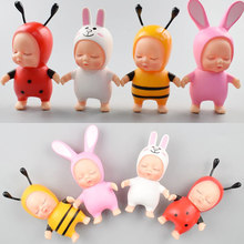 lol dolls Cartoon Pom Sleeping Baby Plush Doll Toys Rabbit Fur Ball Toys Fluffy Girls Bag Pandent Decoration Toys For Girls Gift(China)