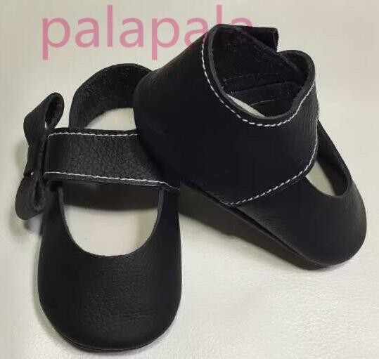 27 colores Nuevos diseños de la marca negro mariposa nudo de Cuero Genuino Bebé arco fringe Mocasín mary jane Zapatos de Bebé recién nacido zapatos