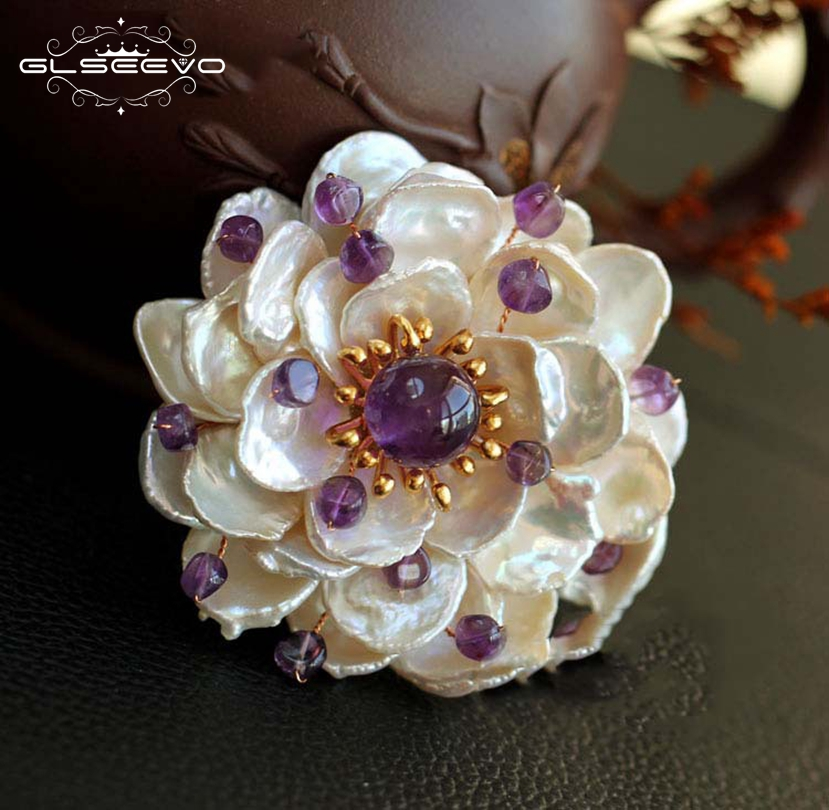 GLSEEVO Natural Fresh Water Baroque Pearl Flower Brooches Party Gift Amethyst Pendant Brooch Pin Dual Use Luxury Jewelry GO0063GLSEEVO Natural Fresh Water Baroque Pearl Flower Brooches Party Gift Amethyst Pendant Brooch Pin Dual Use Luxury Jewelry GO0063