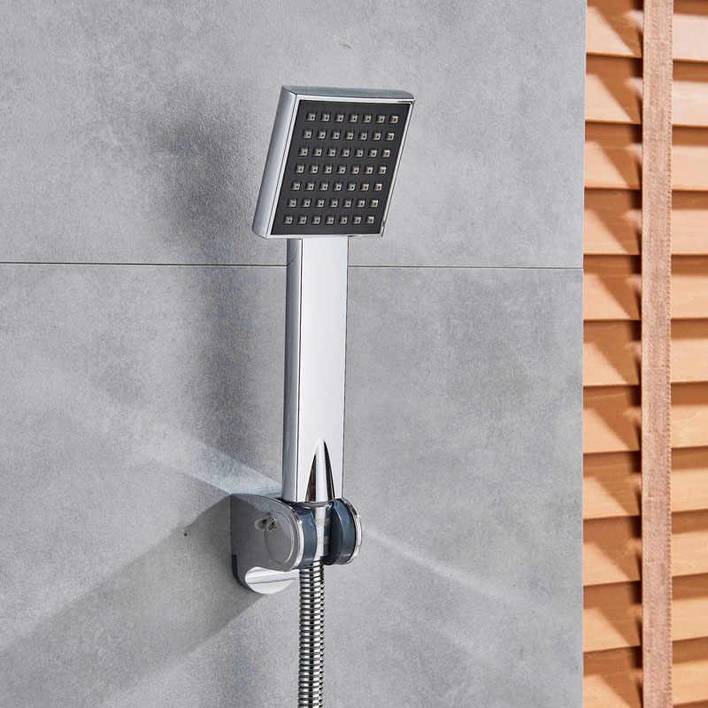 Krom termostatik duş musluk duvara monte el duş bataryaları braketi ile sabit sıcaklık banyo duş musluk