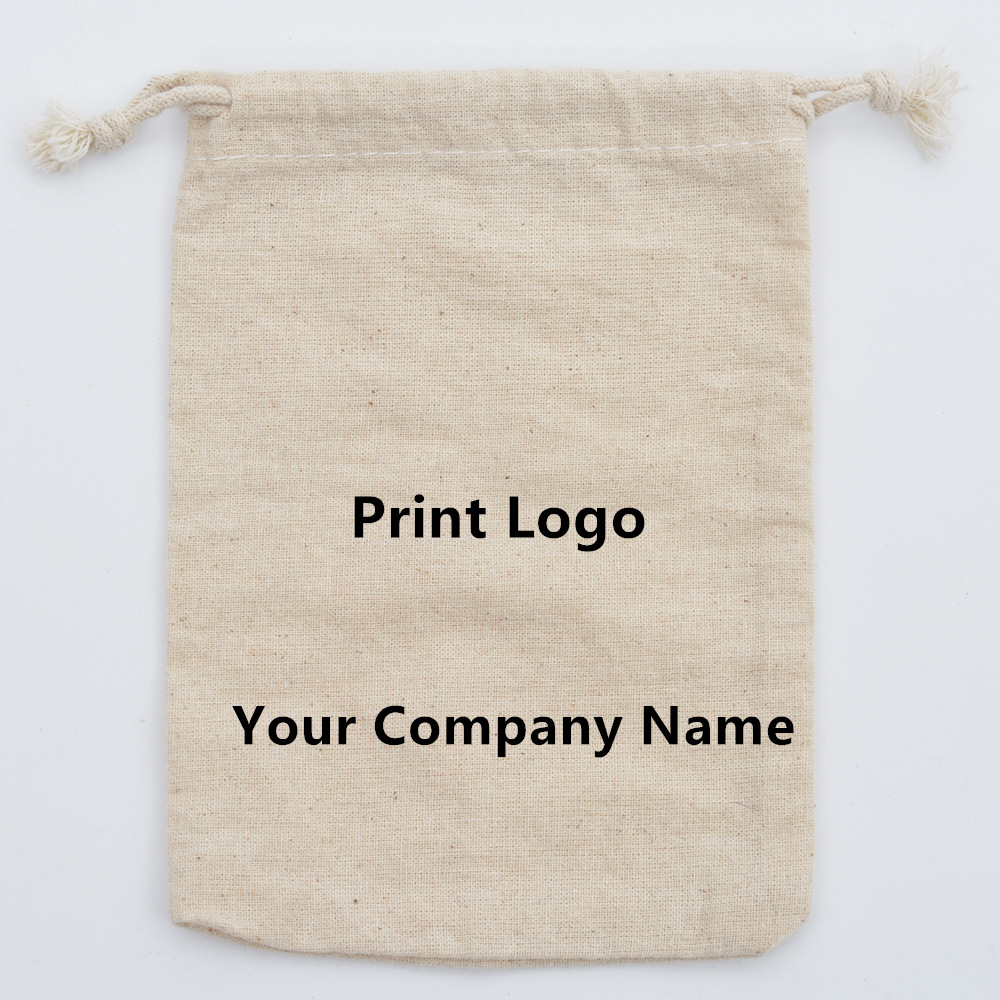 Image 3 - 50pcs Pure Cotton Muslin Drawstring Bags Wedding Party Favors Holder Jewelry Packaging Gift Bag Customized logo Wholesale-in Gift Bags & Wrapping Supplies from Home & Garden