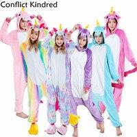 Rainbow Unicorn Winter Flannel Anime Pijama Cartoon Cosplay Warm Sleepwear Women Cute Animal Pajamas Unisex Adult
