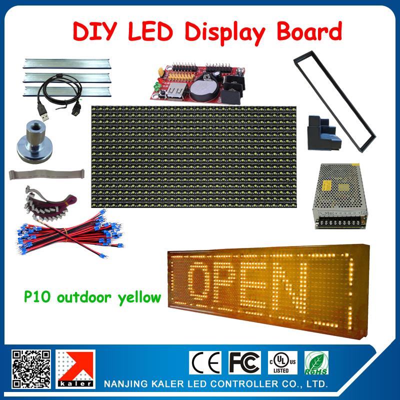 Diy kits for led sign board scrolling messgae programmable led display screen 16*64 pixel p10 yellow led signDiy kits for led sign board scrolling messgae programmable led display screen 16*64 pixel p10 yellow led sign