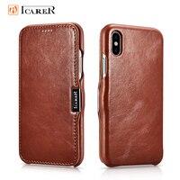 Icarer Genuine Leather Case for iPhone XR XS MaX Magnetic Closure Retro Slim Flip Folio Phone Bag for iPhone 6 6s 7 8 Plus Cover