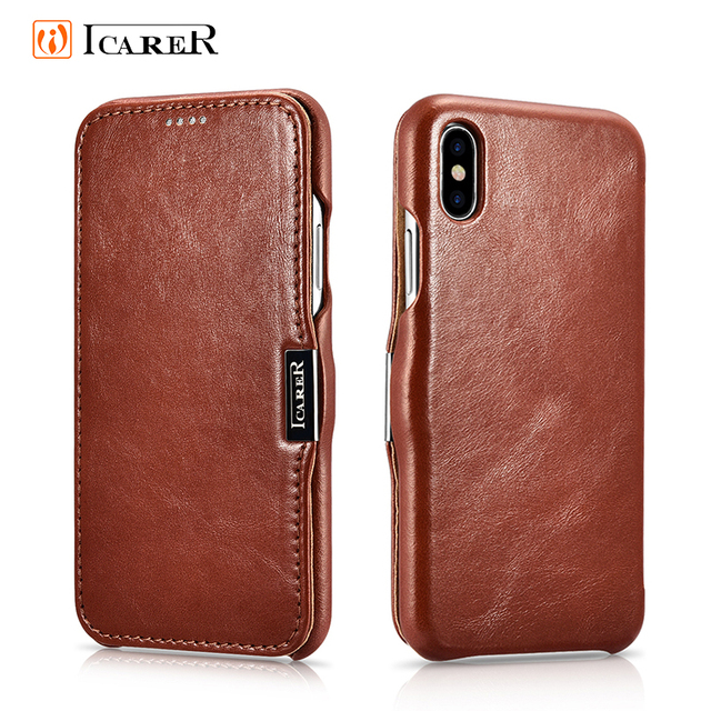 Icarer Genuine Leather Case for iPhone 12 Mini 11 Pro Max 6 7 8 Plus X XR XS Magnetic Closure Luxury Retro Slim Flip Phone Cover