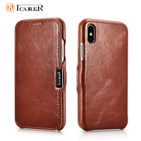 Icarer Genuine Leather Case for iPhone 11 Pro Max 6 7 8 Plus XI XR XS MaX Magnetic Closure Retro Slim Flip Folio Phone Bag Cover