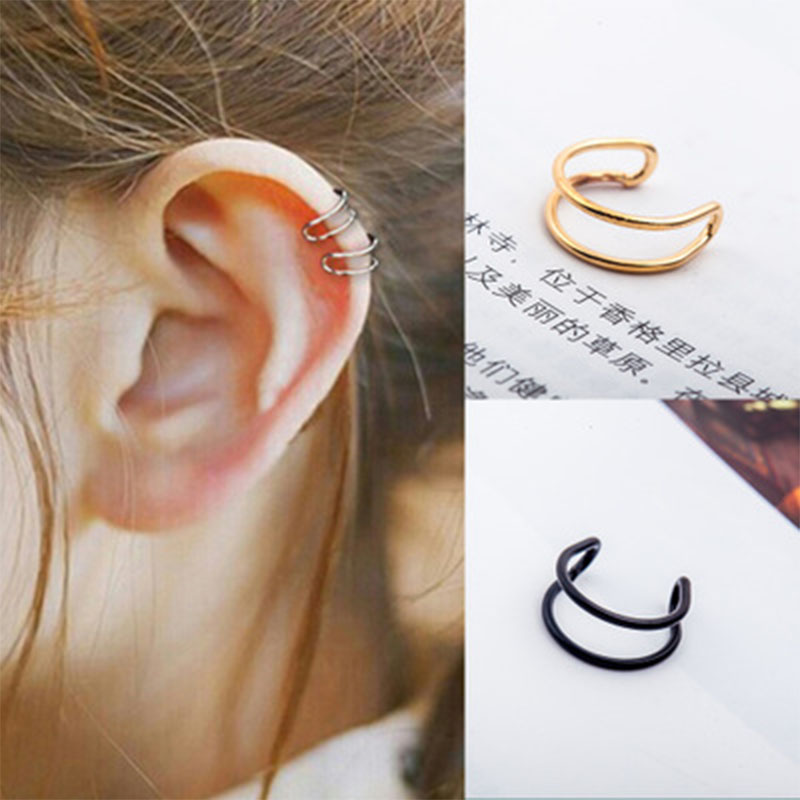 Retro Punk Style U-shaped Ear Bone Earrings Invisible Without Pierced Double Coil Clip No Hole Earring For Unisex WD159