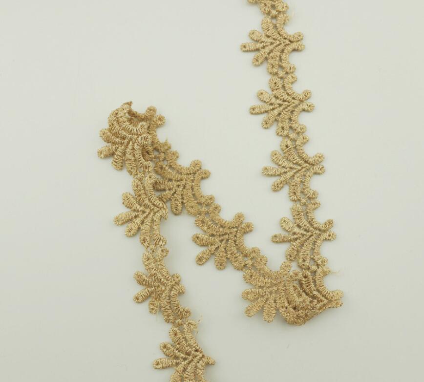 Красивая вышивка, 5 метров, кружево для поделок, отделка, ширина 2,7 см, Золотая бриллиант