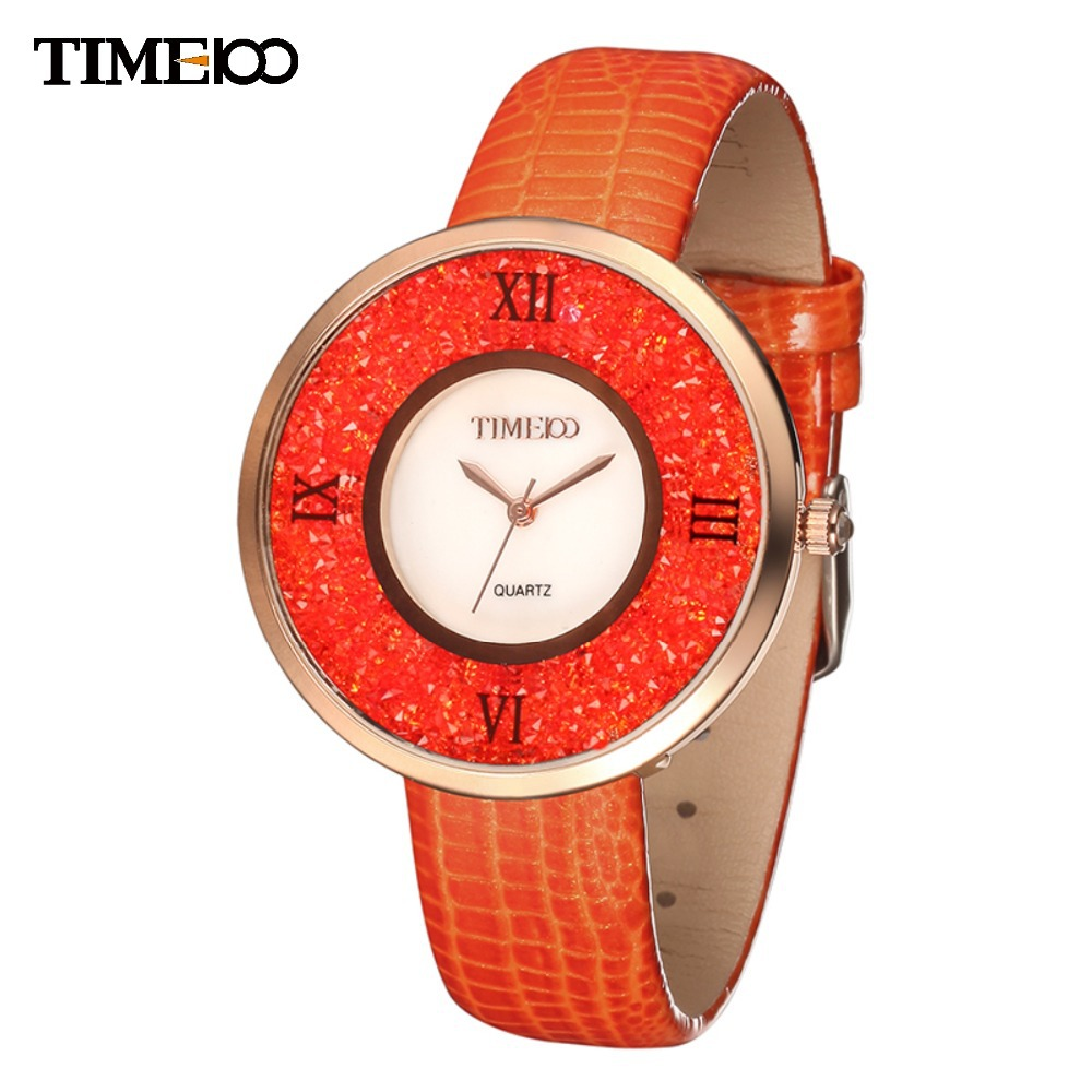 TIME100 Ladies Luxury Simple Alloy Case Crystal Shell Dial Orange Leather Women Quartz Wrist Watches For Women's W50280.03A 4 time100 w40109m