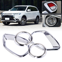 Beler 4pcs ABS Chrome Plated Car Front Rear Fog Light Lamp Cover Trim Fit For MITSUBISHI
