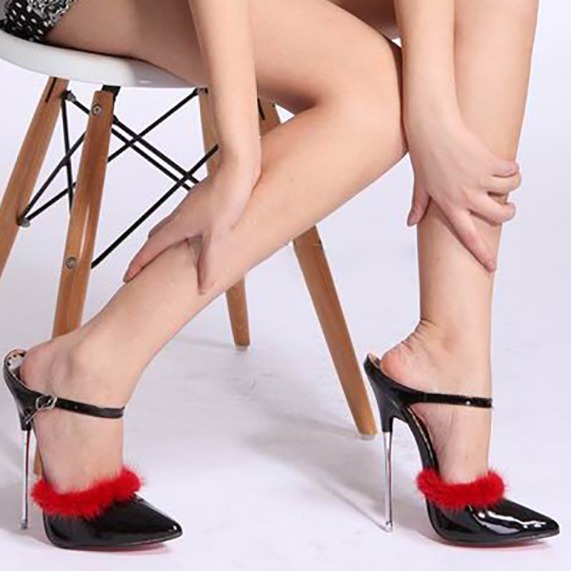 цены Fur Sandals High Heels Women Summer Shoes Fashion Red Bottom Metal Stiletto Sexy Party Shoe Ankle Strap Open Toe Pumps Big Size
