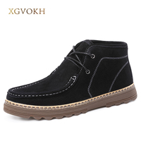 Men Shoes Winter Keep Warm Cow Leather Ankle Boots Man Fashion Black Boots XGVOKH Brand Classic