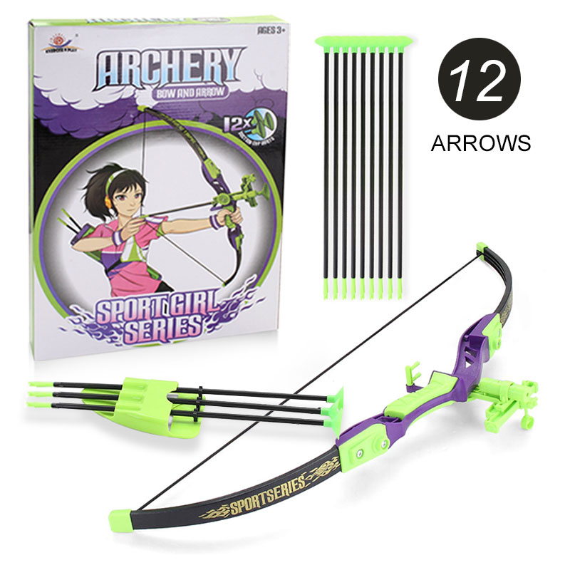 Bow With 12pcs Arrows Shooting Outdoor Toys Safety Folding Sword Sligtshot For Children Toy Set Plastic Sports Gift