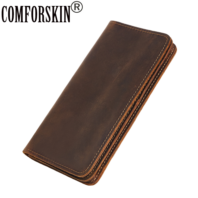 COMFORSKIN Brand Genuine Leather Long European And American Mens Wallet Multi-Card Bit Retro Card Wallets 2018 Wallet For Man