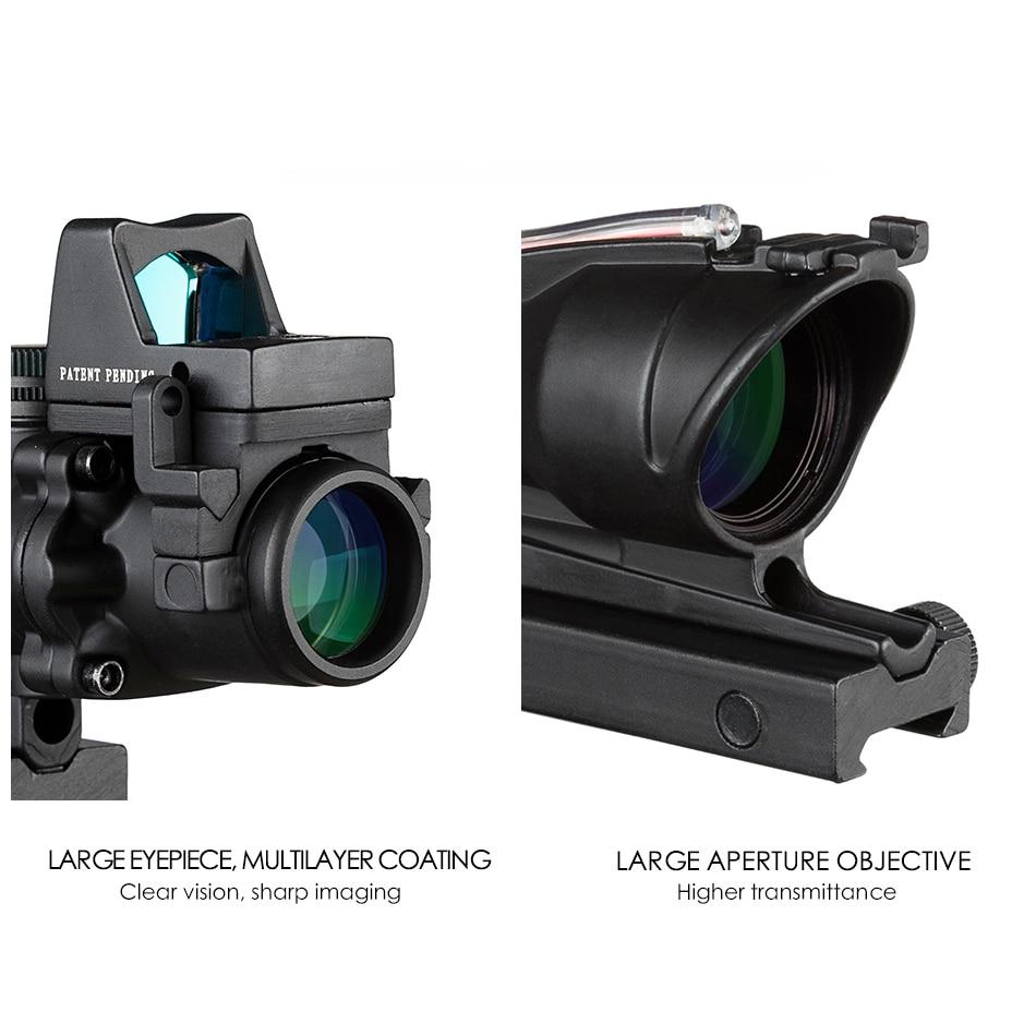 Acog 4x32 Red Fiber Source Real Fiber Scope W/ Rmr Micro Red Dot Sight Marked Version Black Riser Optical Instrument
