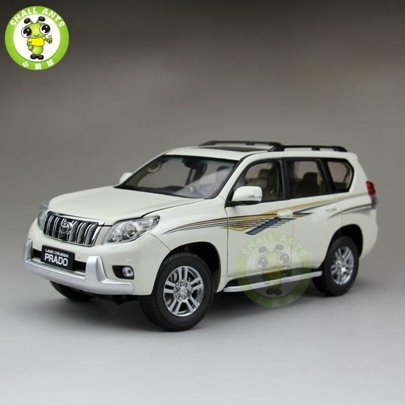1:18 échelle Toyota Land Cruiser Prado moulé sous pression SUV voiture modèle jouets pour cadeaux collection passe-temps blanc