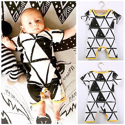 2016 Baby Infant Todder Triangle Geometric Pattern Printed Romper Playsuits 0-24M