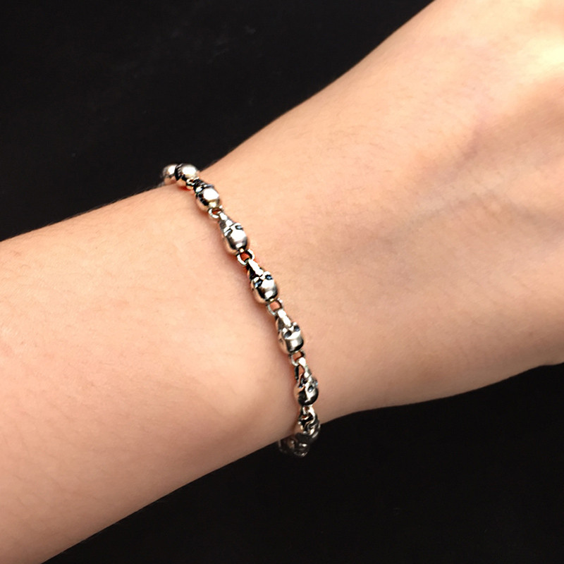 Gothic Skull Strand Narrow Chain Bracelet In 100% Real Sterling Silver 925 Cool Personality Thai Silver Bracelet Men Women Gifts