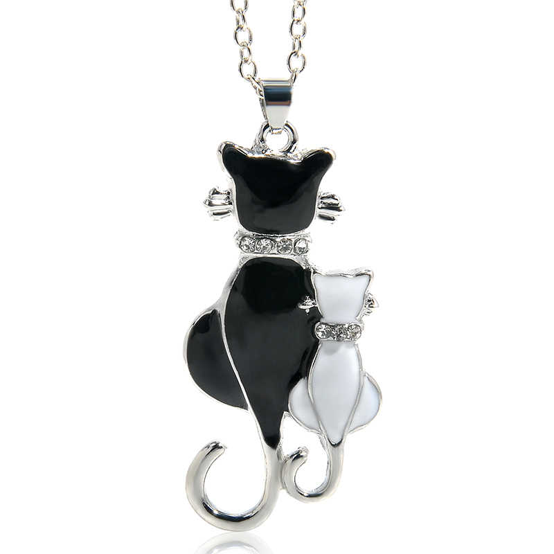 Cute Double Kitty Design pendant necklace Fashion Women Charming Alloy Chain Necklace Sweater Necklace