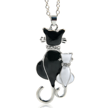 Best Cute Double Kitty Design Pendant Necklace Cheap