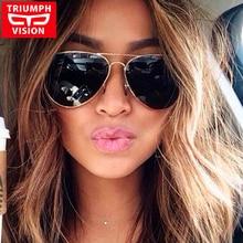 TRIUMPH VISION Aviator Sunglasses Women Sun Glasses Lady Driving Pilot Metal Mirrored Shades Lentes Gafas Oculos de sol Feminino