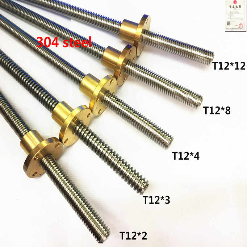 1pc 100 150 200 250 300 350 400 450 500 550mm 304 T12 2 3 4 8 10 12 stainless steel Trapezoidal screw lead screw with brass nut