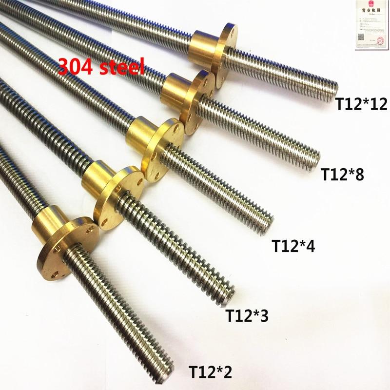 1pc 100 150 200 250 300 350 400 450 500 550mm 304 T12 2 3 4 8 10 12 Trapézoïdal en acier inoxydable vis à vis avec écrou en laiton