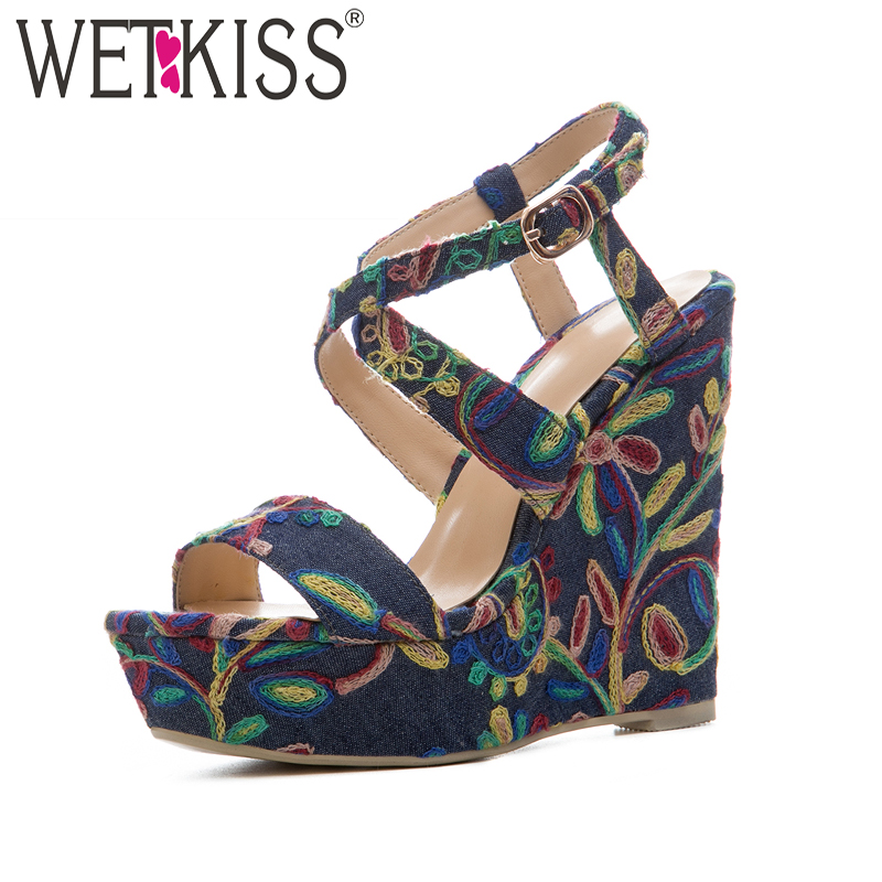WETKISS Denim High Heels Women Sandals Wedges Cross Strap Open Toe Embroider Footwear 2018 Summer Fashion Platform Ladies Shoes new women casual platform wedges sandals fashion cross strap gladiator sandals for women sexy high heels ladies summer shoes