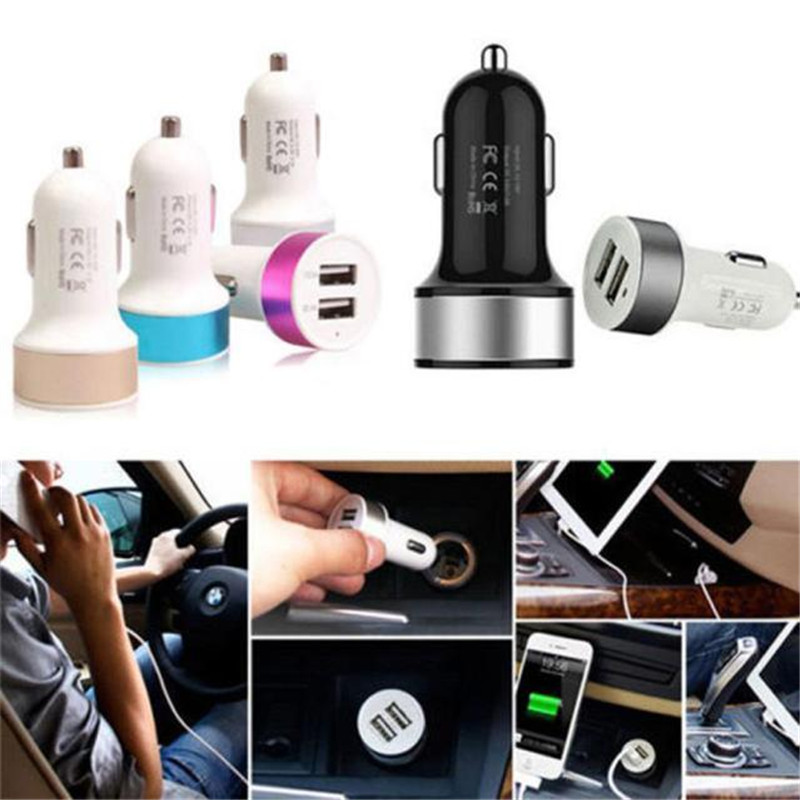 High-quality ABS Material 2 Port Mini Dual USB Car Charger Adapter For IPhone Samsung Universal Use USB-autolaturi Cool Baby