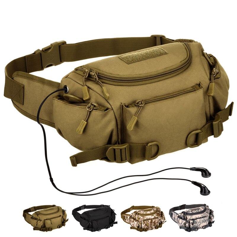 Men Waterproof Nylon Waist Fanny Pack Bag Hip Bum Belt Cross Body Messenger Shoulder Sports Purse Handbag Tactical Military