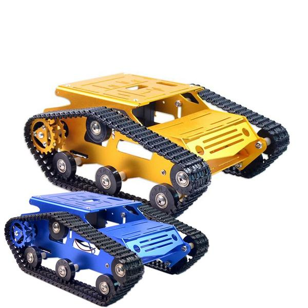 Original Xiao R DIY Self-assembled Aluminium Alloy RC Wifi Robot Car Tank Chassis Kit Set Gold Blue For Kids Adult DIY Toy GiftsOriginal Xiao R DIY Self-assembled Aluminium Alloy RC Wifi Robot Car Tank Chassis Kit Set Gold Blue For Kids Adult DIY Toy Gifts