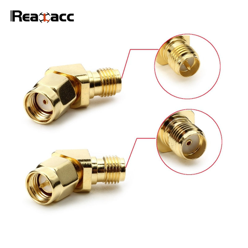 Original Realacc 45 Degree Antenna Adapter Connector SMA RP-SMA Connection For RX5808 Fatshark Goggles RC Quadcopter Accessories frsky x9d plus transmitter tx spare parts rf connector 70 rp sma 5dbi antenna adapter for rc models drone quadcopter