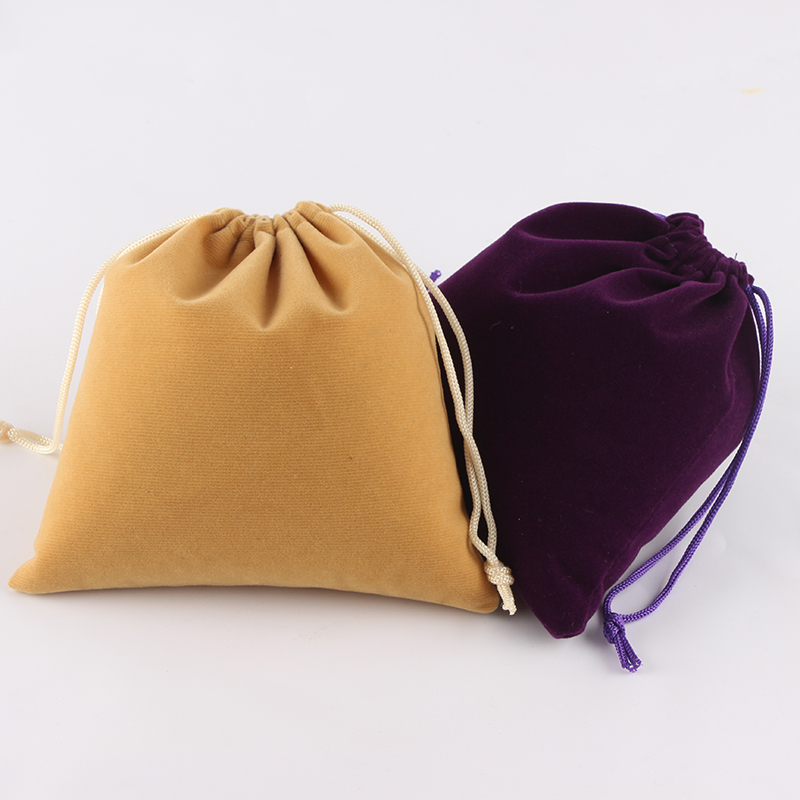 5pcs/Lot 15*15cm Customized Logo Mixed-Color Printed Wedding Velvet Drawstring Pouch Packing Bags