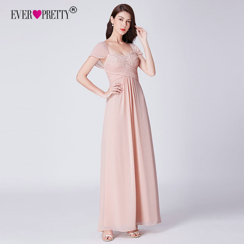 13c272f55b7 Ever Pretty Long Blush Pink Chiffon Bridesmaid Dresses With Lace Appliques  Elegant A Line Backless Wedding Guest Dress Party -in Bridesmaid Dresses  from ...