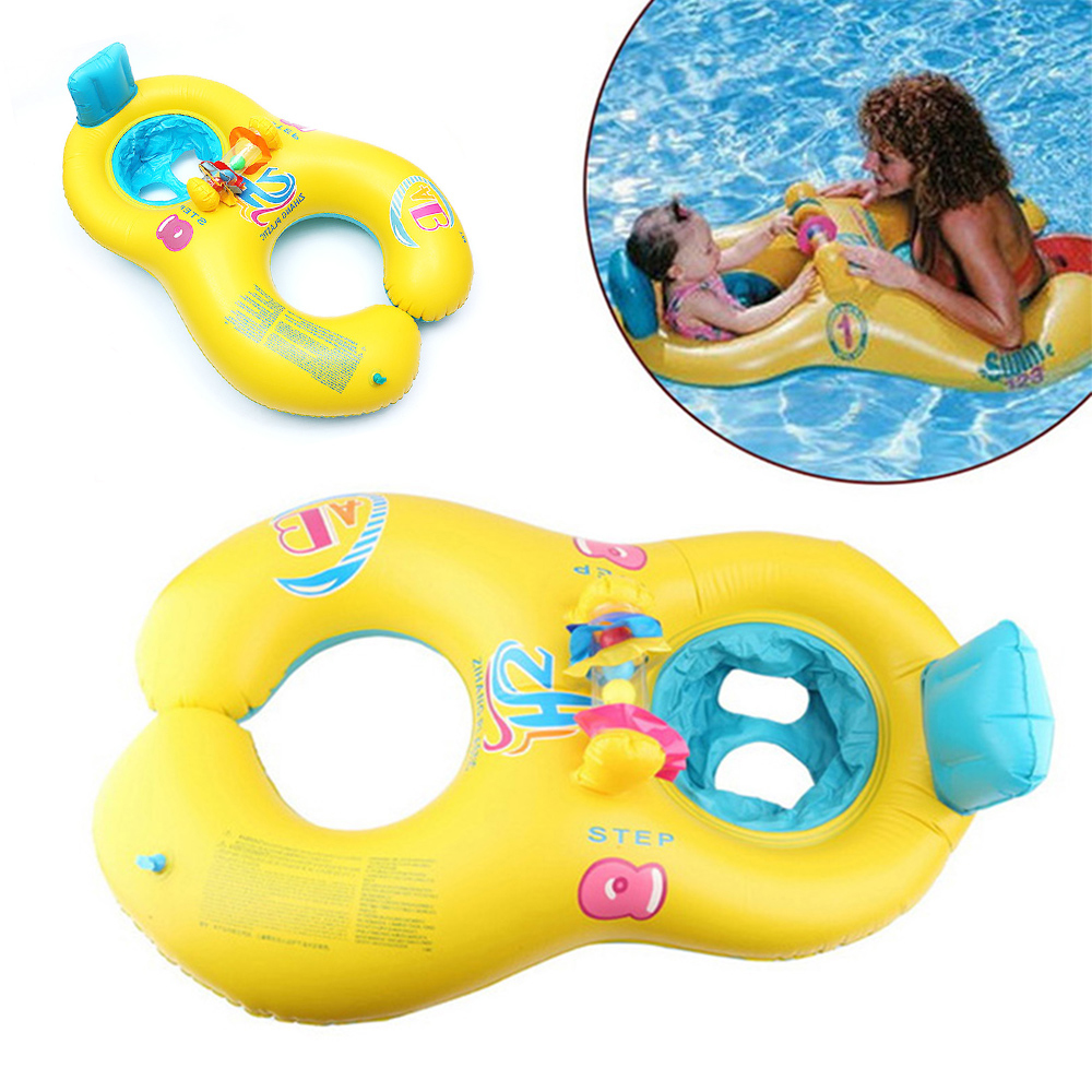 Summer Baby Swimming Pool Inflatable Ring Mother And Child Double Circle Swim Rings Infant Floating Seat Ring Bathing Circle